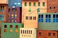 Representation of city buildings, detail of the nativity scene 2019 in the Plaça de Sant Jaume, Barcelona.