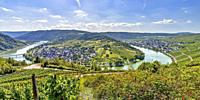 panorama of a bend of the Moselle river around village Wolf, Germany, view from mountain ridge near Mont Royal.