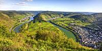 bend of the Moselle river near village Bremm, Germany, panorama view from mountain Calmont.