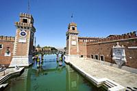 The entrance of the Venetian Arsenale, a state-owned complex of former shipyards and armories. Campo De l'Arsenal. Venezia. Veneto. Italy.