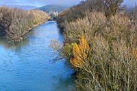 Aragon river. Sangüesa town surroundings, Navarre, Spain. Europe.