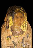 Lady of Kemet, Mummy with Fayum portrait. Museum of Ancient Egypt Culture of Barcelona, Spain.