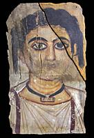 Fayum female portrait, Roman period. Museum of Ancient Egypt Culture of Barcelona, Spain.