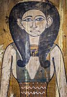 Coffin backboard depicting Goddess Nut. Museum of Ancient Egypt Culture of Barcelona, Spain.