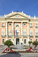 Entrance of the Ayuntamiento de Murcia in the Plaza de la Glorieta de Espana, Murcia, Spain.