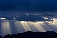 Storm clouds, Mediterranean forest, Sierra de San Pedro, Cáceres, Extremadura, Spain, Europe.