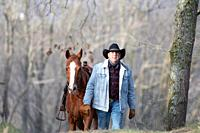 An arabian horse following a veteran cowboy in the forest.