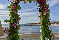 Arc flower at the beach in a sunny day with blue sky in Marbella.