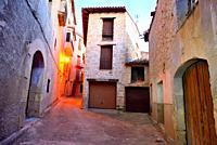 Small Square in Torre del Compte, Matarraña region, Teruel, Spain