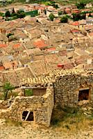 View of the houses in La Fresneda, Matarraña, Teruel, Aragon, Spain