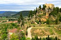 Ruins in a hill of La Fresneda, Teruel, Aragon, Spain.