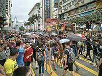 Hong Kong, Hong Kong SAR - August 3, 2019: Protesters rallying in Nathan Road in the latest opposition to a planned extradition law that has evolved i...