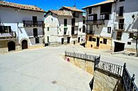 Square of Spain in Peñarroya de Tastavins, Teruel, Aragon, Spain.