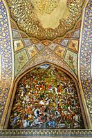Fresco representing the battle of Chaldoran in 1518, Chehel Sotoun, Esfahan, Iran.