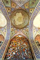 Fresco representing the battle of Karnal in 1756, Chehel Sotoun, Esfahan, Iran.