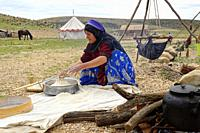Bread preparation in Qashqai nomads camp, Fars Province, Iran.