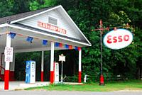 A restored historic gas station and rest area stands in Galvants Ferry, South Carolina.