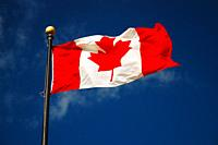 The Canadian flag flies in the breeze.