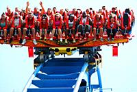 Thrill seekers begin their descent on a roller coast in Virginia.