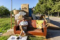 Garbage in the city. Almansa, Albacete Province, Spain.