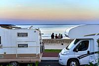 Family vacation, Motorhomes, Beach, Hendaye, Aquitaine, Pyrenees Atlantiques, France