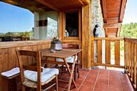 Terrace with mountain views, Apartment in rural house, Deba, Gipuzkoa, Basque Country, Spain, Europe