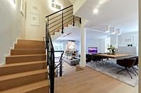 Stairs, Living room, Family house, Villa, Donostia, San Sebastian, Gipuzkoa, Basque Country, Spain, Europe
