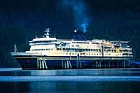 The M/V Kennicott docked at the Sitka Terminal. Sitka, Alaska, USA. The Alaska Marine Highway System operates along the south-central coast of the sta...