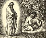 Genesis. The Fall of Man, Adam and Eve in the Garden of Eden. Sacred biblical history Old Testament. Old engraving from the book Historia Sagrada 1920...