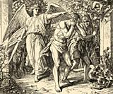 Genesis. God expels Adam and Eve from the Garden of Eden to work the land. Sacred biblical history Old Testament. Old engraving from the book Historia...