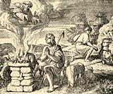 Genesis. God looked pleased with Abel and his offering, Kain and his offering did not look with pleasure, he was very angry. Sacred biblical history O...