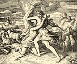 Genesis. Kain Kills His Brother Abel. Sacred biblical history Old Testament. Old engraving from the book Historia Sagrada 1920 Juan Lagui Lliteras.