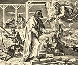 Genesis. The great flood, Arca Noe. God appears to Noah and tells him to make an ark of resinous woods. Sacred biblical history Old Testament. Old eng...