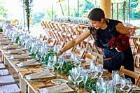 Floral decoration, Dining room, tense tent, Event Celebration, Wedding, Hondarribia, Gipuzkoa, Spain