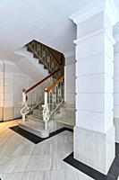 Stairs, Portal entrance, Apartment building, Santa Catalina square, Donostia, San Sebastian, Gipuzkoa, Basque Country, Spain, Europe