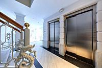 Elevators, Portal entrance, Apartment building, Santa Catalina square, Donostia, San Sebastian, Gipuzkoa, Basque Country, Spain, Europe