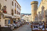 Spain, Europe, Catalonia, Costa Brava Coast, Tossa de Mar, town, Tossa castle, sunset, beach, blue, castle, coast, Costa Brava,.