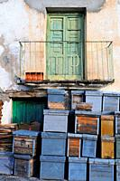 Beehives and traditional house. Las Mestas village. Las Hurdes. Cáceres province. Extremadura. Spain