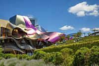 Spain, La Rioja Area, Alava Province, Elciego, elevated town view and Hotel Marques de Riscal, designed by Architect Frank Gehry.