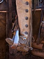 Close up detail of a cowboy's boot in a saddle stirrup with leather chaps and fringe. The leather chaps protect the cowboy's legs from thorny brush on...