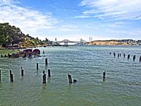 Carquinez Strait and the Carquinez bridge at the northeast end of the San Francisco Bay.