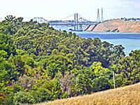 Carquinez Strait and two Carquinez bridges at the northeast end of the San Francisco Bay.