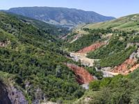 Landscape along the mountain road from Jalal-Abad (Dzhalal-Abad, Djalal-Abat, Jalalabat) to mountain pass Urum Basch Ashuusu in the Tien Shan mountain...