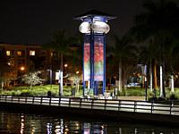 Night images along the Riverwalk on the Manatee River in Bradenton Florida.