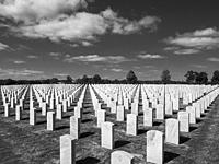 Black and White image of grave stones in Sarasota National Cemetery in Sarasota Florida.