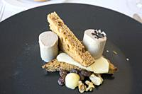 Gourmet appetizer mousse of goose liver with bread and nuts Spain.