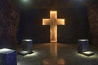 One of the Stations of the Cross in the underground Zipaquirá salt cathedral, Zipaquirá, Colombia.