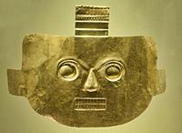 Gold face plate, Museo del Oro, Bogotá, Colombia.