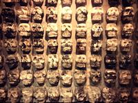 Skulls representing Death and human sacrifices decorate Templo Mayor museum in Mexico City, Mexico