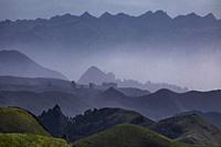 Fog enveloping the hills and valleys surrounding Moro Bay, California.